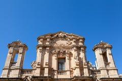 教会门面在马尔萨拉,西西里岛 免版税库存照片