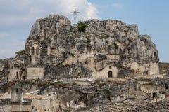 教会雕刻了入岩石 意大利matera 免版税库存图片