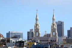 教会顶部旧金山 库存图片