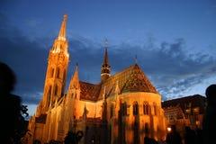 教会马赛厄斯晚上 免版税图库摄影