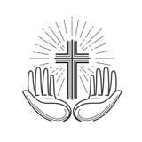 教会,宗教商标 圣经、在十字架上钉死、十字架、祷告象或者标志 线性设计,传染媒介例证 图库摄影