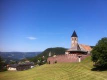 教会, Alpe di Siusi,意大利 库存照片
