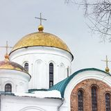 教会 美丽的教会在冬天 库存照片