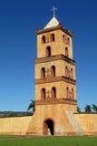 教会bellfry在Puerto Quijarro,圣克鲁斯,玻利维亚 图库摄影