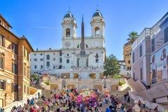 教会dei意大利monti罗马西班牙步骤冠上trinit 免版税库存图片