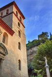 教会Iglesia杜兰特La Eucarista阿尔罕布拉宫月亮格拉纳达西班牙 库存照片