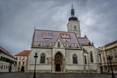 教会Stmarks在萨格勒布,克罗地亚 库存图片