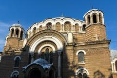 教会Sveti Sedmochislenitsi日落视图在市索非亚,保加利亚 免版税图库摄影