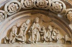教会Vezelay Tympan在法国 免版税库存照片