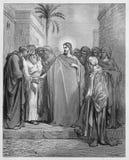 耶稣基督和进贡金钱 免版税库存图片