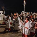 教区居民庆祝圣米格尔火山宴餐  图库摄影