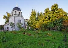 教堂和墓地在构想女修道院在莫斯科 免版税库存图片