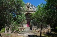 教堂和橄榄树在Alpilles (普罗旺斯,法国) 免版税库存图片