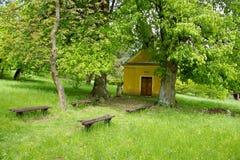 教堂在大石灰树和长凳下 免版税图库摄影