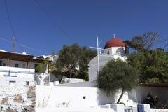 教堂在米科诺斯岛 免版税图库摄影