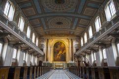 教堂在老皇家海军学院在格林威治 图库摄影