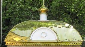 教堂屋顶 一个教堂的金屋顶金把柄的 免版税库存图片