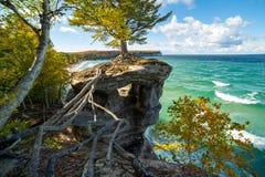 教堂岩石和苏必利尔湖-密执安,美国的上部半岛 免版税库存照片