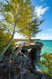 教堂岩石和苏必利尔湖-密执安,美国的上部半岛 免版税库存图片