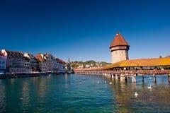 教堂桥梁, Luzern 免版税库存照片