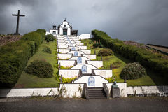 教堂白色教会亚速尔群岛圣地米格尔葡萄牙 免版税库存照片