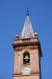 教堂钟塔,坎皮略斯,西班牙。 库存照片