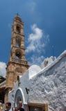 教堂钟塔Lindos罗得岛希腊 免版税库存图片