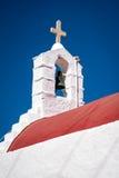 教堂钟的细节在米科诺斯岛的 图库摄影