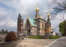 教堂jugendstil俄语塔 库存照片