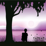 教孩子观看日落,传染媒介例证 免版税库存图片