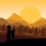 教孩子观看日落,传染媒介例证 免版税库存照片