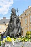 教宗若望保禄二世的纪念碑在他的家乡城市瓦多维采, Po 免版税库存照片