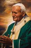 教宗若望保禄二世的被绘的图象 免版税库存照片