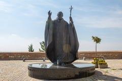 教宗若望保禄二世雕象在Nitra,斯洛伐克共和国,中央E 免版税库存图片
