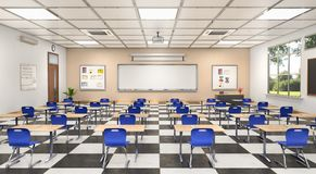 教室内部 3d例证 库存照片