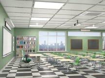教室内部 3d例证 免版税库存图片