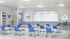 教室内部 3d例证 免版税库存照片