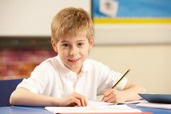 教室男小学生学习 免版税库存照片