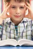 教室男小学生强调的学习 免版税库存照片