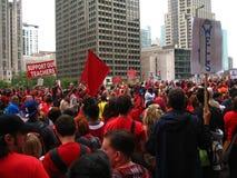 教师罢工芝加哥R 免版税库存照片