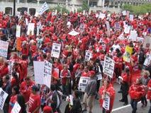 教师罢工芝加哥T 免版税库存图片