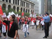 教师罢工芝加哥W 免版税库存图片