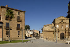 主教的帕拉西奥和大教堂,卡拉奥拉,西班牙 库存图片