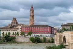 主教的座位La Seo在萨瓦格萨西班牙 免版税库存照片