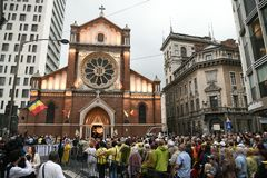 教皇方济各参观向罗马尼亚 库存照片
