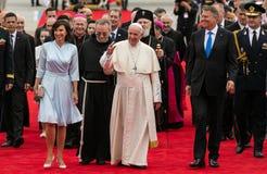 教皇方济各访问罗马尼亚 免版税图库摄影