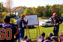 教练橄榄球赛方法 库存图片