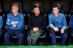 教练雷斯恩里克c,和在西班牙足球甲级联赛比赛的Unzue r和海军l在巴伦西亚锎和巴塞罗那足球俱乐部之间在Mestalla 库存照片