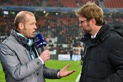 教练Jurgen Klopp被采访 图库摄影