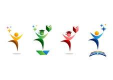 教育、商标、人、庆祝、学生和书标志象集合传染媒介设计 免版税库存图片